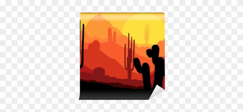 Cactus Plants In Mexico Desert Sunset Vector Wall Mural - Mexican Canyon Cactus #457393
