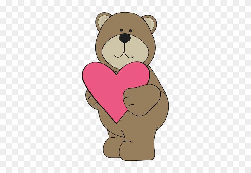 Bear Heart Clipart - Valentine Hearts #460112