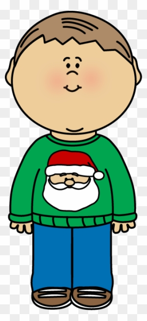 Kid Wearing A Christmas Sweater Clip Art Little Boy On Christmas