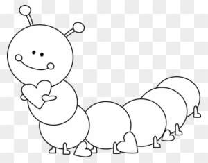 Caterpillar Clipart Valentines Day - Cute Image Black And White