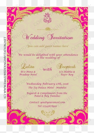 Diy Email Wedding Card Design 13a Pink Web Calligraphy Free Transparent Png Clipart Images Download