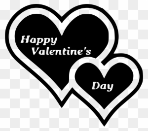 Double Heart Clip Art - Happy Valentines Day Black And White