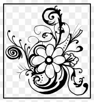 Shocking Flower Designs Black And White Border Png Black And White
