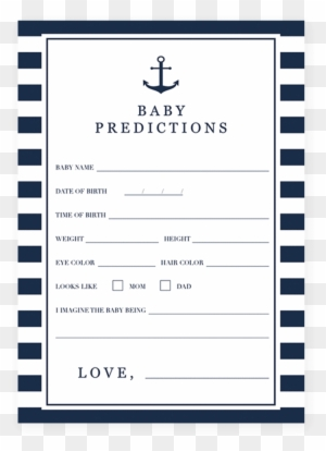 Printable Baby Shower Prediction Card For A Nautical - Baby ...