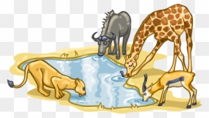 When Nature Calls Animals At Watering Hole Clipart Free Transparent Png Clipart Images Download