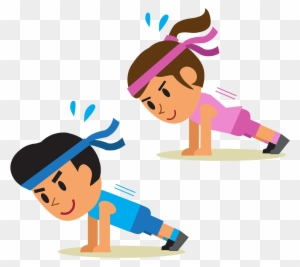 Physical Exercise Cartoon Plank Stretching Cartoon Doing Push Ups Free Transparent Png Clipart Images Download