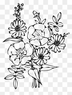 Flower Bouquet Decorated With Bow. Black And White Outline Vector.. Royalty  Free Cliparts, Vectors, And Stock Illustration. Image 78543312.