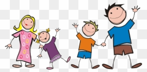 A family with four kids. This design works best with all characters...    Family cartoon, Cartooning 4 kids, Illustration