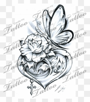 Rose Tattoo Clipart Butterfly Flower And Heart Tattoo Designs