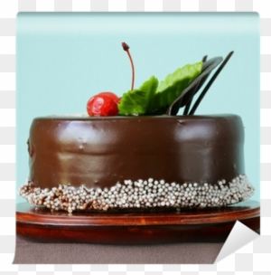 Festive Beautiful Chocolate Cake With Icing And Cherry Chocolate