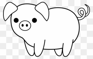 Domestic Pig Silhouette Drawing - 卡通 豬 - Free Transparent ...
