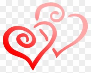 Red Heart Love Day Hearts Pair Valentine F - Black & White Clip Art Valentines