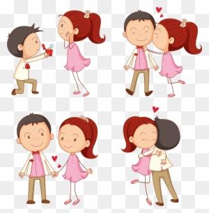 Kiss Cartoon Boy Illustration Cartoon Boy Girl Hugging Free Transparent Png Clipart Images Download
