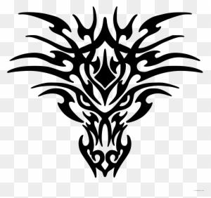Tribal Dragon Animal Free Black White Clipart Images Simple Dragon