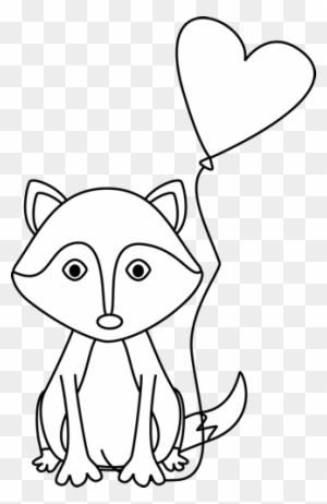 Valentine's Day Clipart Fox - Clipart Of Cute Fox Black And White