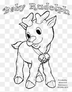 Cute Rudolph Reindeer Santa Christmas Coloring For Coloring Pages