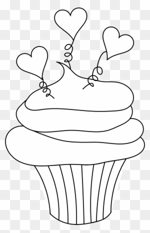 Tree Clipart Outline Cupcake Clipart - Valentines Day Clipart Black And White