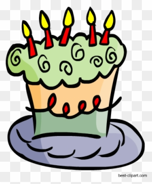 Cute Green And Purple Birthday Cake Png Clipart