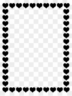 Valentines Day Border Landscape - Heart Border Clipart Black And White