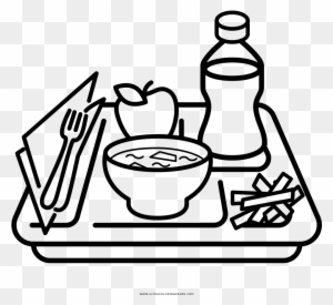 Coloring Pages Of Food Clipart Lunch Tray Black And White Free Transparent Png Clipart Images Download