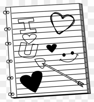 Black And White Valentine's Day Notebook Scribbles - Valentine Day Clip Art Black And White
