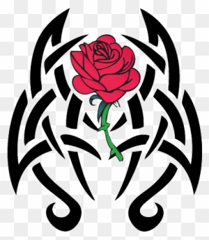 Beautiful Red Rose With Black Tribal Design Tattoo Skull And Roses
