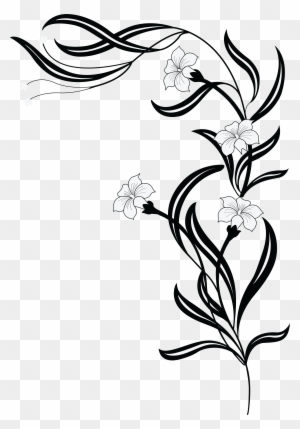 Free Clipart Of A Grayscale Floral Vine Black White Flowers Png