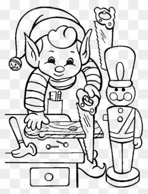 black and white coloring page of boy elf peeking around