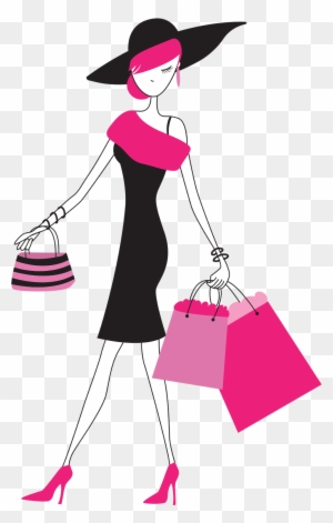 Fashion Girl Clipart Png Lady With Shopping Bags Free