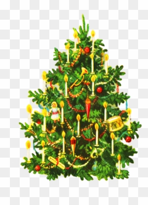 Oldfashioned Decorated Christmas Tree - Vintage Christmas Cards Christmas  Tree - Vintage Christmas Tree Clip Art, Transparent PNG Clipart Images Free